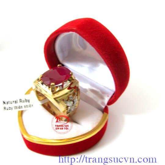 Nhẫn nam vàng 18k,nhẫn ruby,nhẫn đại bàng