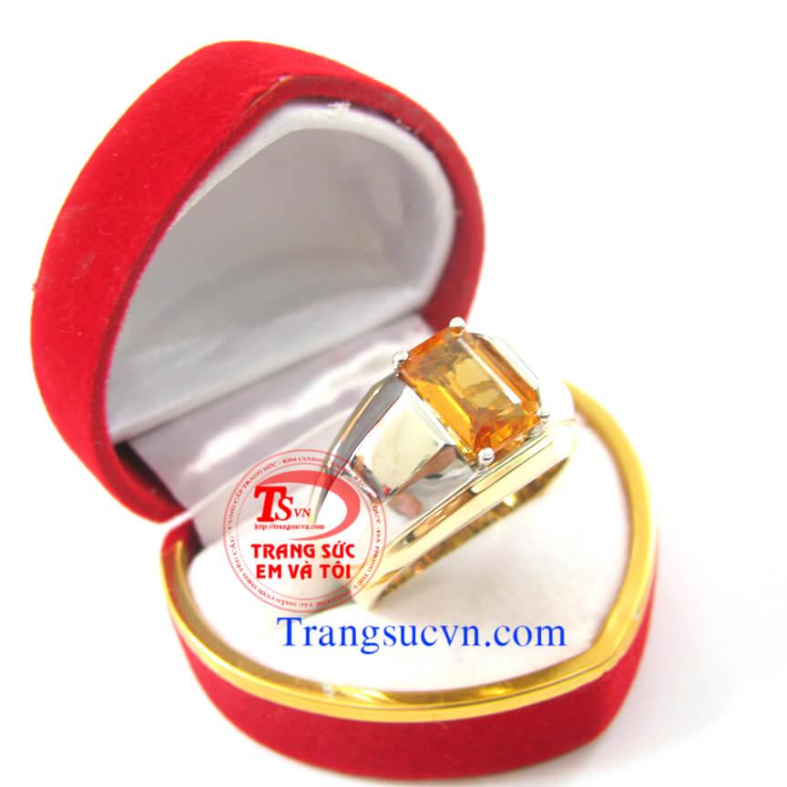 Chiếc nhẫn saphir vàng cho nam, nhẫn nam saphir vàng, nhẫn nam đẹp