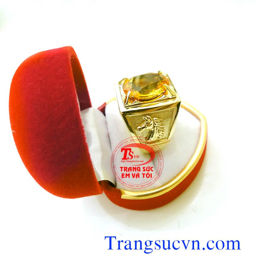 Bán và đặt Nhẫn nam đầu ngựa doanh nhân vàng tây gắn đá quý Citrine và kèm theo giấy kiểm định đá quý và vàng