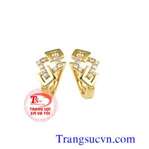 Hoa tai kim cương thiên nhiên vàng 750