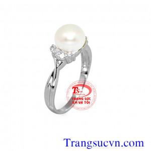 Nhẫn nữ ngọc trai vàng trắng 14k