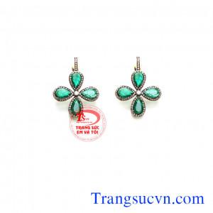 Bông tai vàng đá emerald hoa