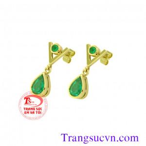Đôi bông tai emerald Vip