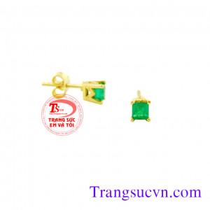 Nụ tai Emerald vuông nhỏ