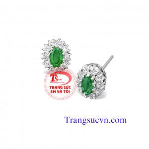 Hoa tai emerald oval