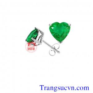 Hoa tai trái tim emerald