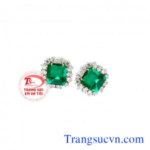 Bông tai emerald vuông đẹp