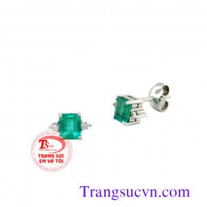 Bông tai vàng trắng emerald đẹp