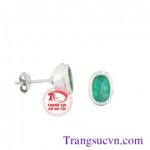 Hoa tai cặp emerald lam