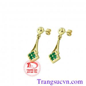 Bông tay vàng đá emerald