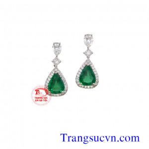 Emerald bông tay vàng tây gắn kim cương
