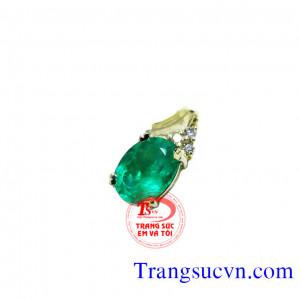 Mặt dây đá quý emerald oval