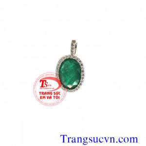 Mặt dây đá quý Emerald vàng 18k trắng