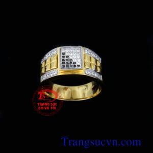 Nhẫn vàng tây kim cương nam