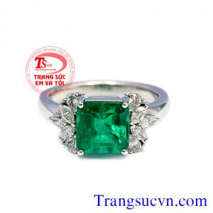 Nhẫn nữ gắn đá xanh mệnh hỏa