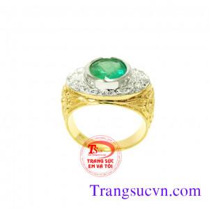 Nhẫn nam phong cách-gắn đá emerald