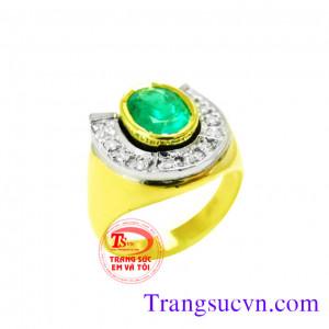 Nhẫn nam vàng tây gắn đá điệu