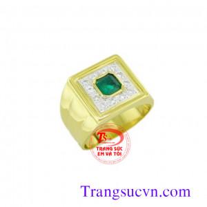 Nhẫn vàng 14k -đá emerald thiên nhiên