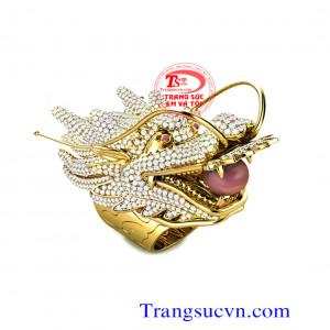 Rồng gậm châu - Nhẫn vàng đính đá