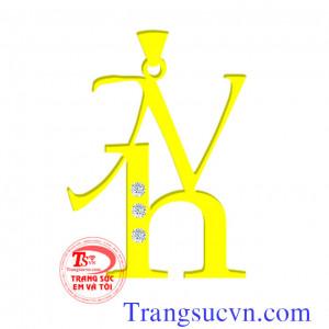 Mặt dây chữ NH vàng theo yêu cầu