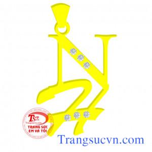Mặt dây chuyền chữ NH Lồng vàng