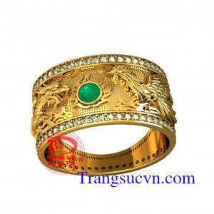 Nhẫn vàng Emerald rồng phượng