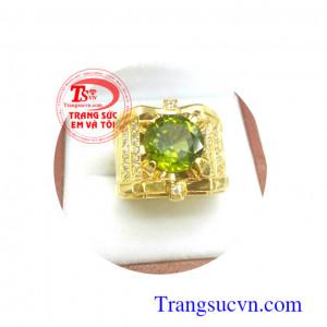 Nhẫn nam vàng đá peridot