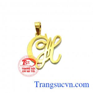 Mặt dây chữ CH Lồng vàng
