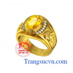 Nhẫn nam tỳ hưu sapphire vàng 18k