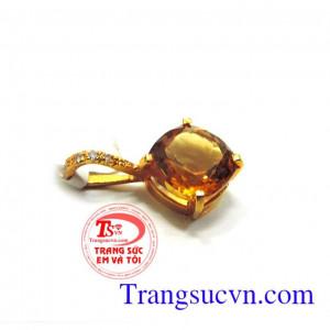 Mặt dây đá Citrine vàng