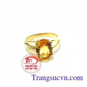 Nhẫn nữ thạch anh vàng