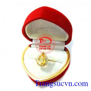 Nhẫn nữ Citrine vàng