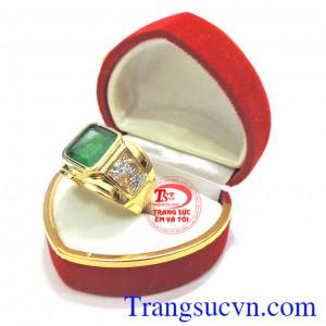 Nhẫn vàng nam đá quý Emerald thiên nhiên