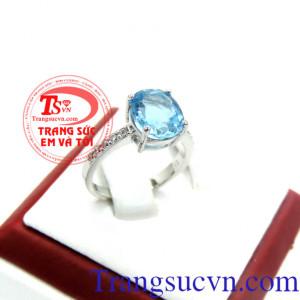 Nhẫn nữ topaz vàng trắng 14k