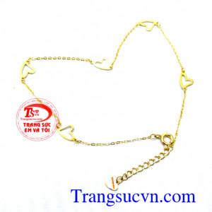 Lắc chân nữ vàng 18k trái tim