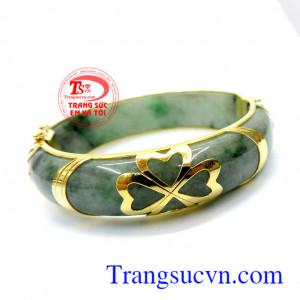 Ngọc myanma bọc vàng vòng tay
