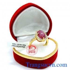 Nhẫn 14k ruby sao Lục yên