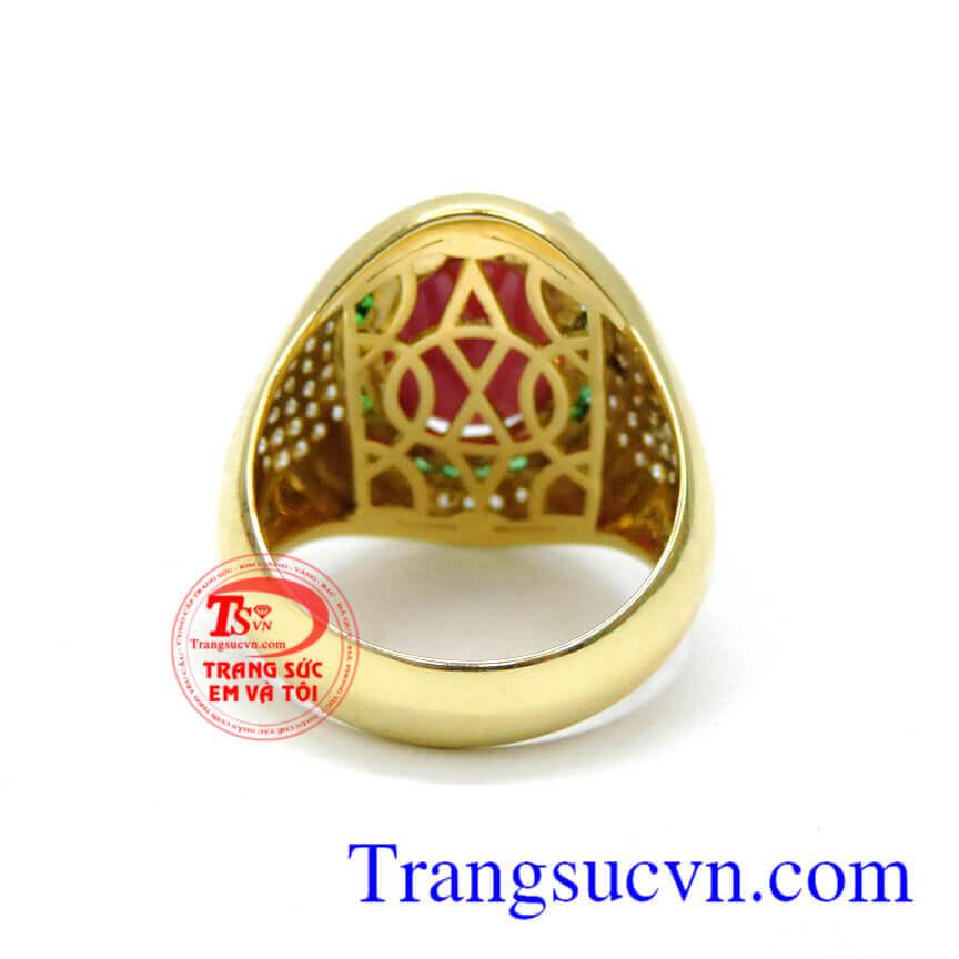 Kiểu dáng sang trọng, cá tính cho nam giới, nhẫn vàng tây đá quý thiết kế theo yêu cầu, không giới hạn ý tưởng