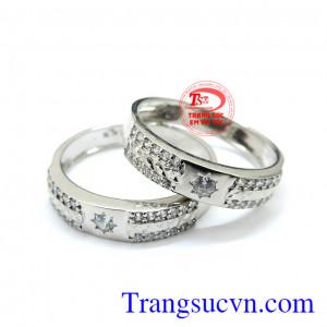 Nhẫn cưới vàng trắng 18k sang