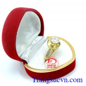 Nhẫn nữ vàng tây + kim cương