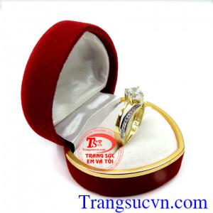 Nhẫn nữ kim cương vàng tây 10k
