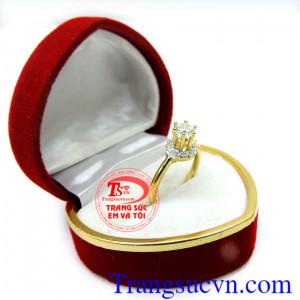 Nhẫn nữ đá quý korea vàng 10k