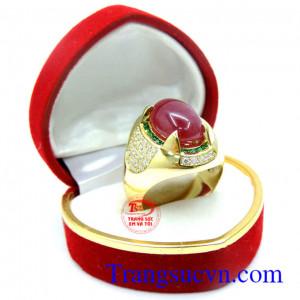Nhẫn Ruby nam vàng 18k, nhẫn nam vàng tây 18k sang trọng, đẳng cấp