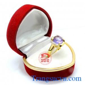 Nhẫn nữ vàng đá thạch anh tim tròn