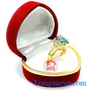 Nhẫn nữ vàng 14k đá topaz