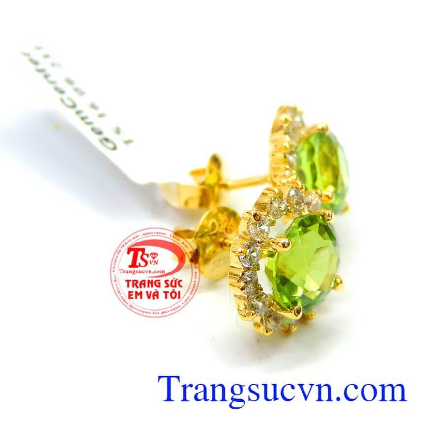 Chế tác đôi hoa tai theo yêu cầu như, hoa tai vàng tây, vàng 10k, hoa tai vàng 14k, Hoa tai đá peridot thiên nhiên đẹp