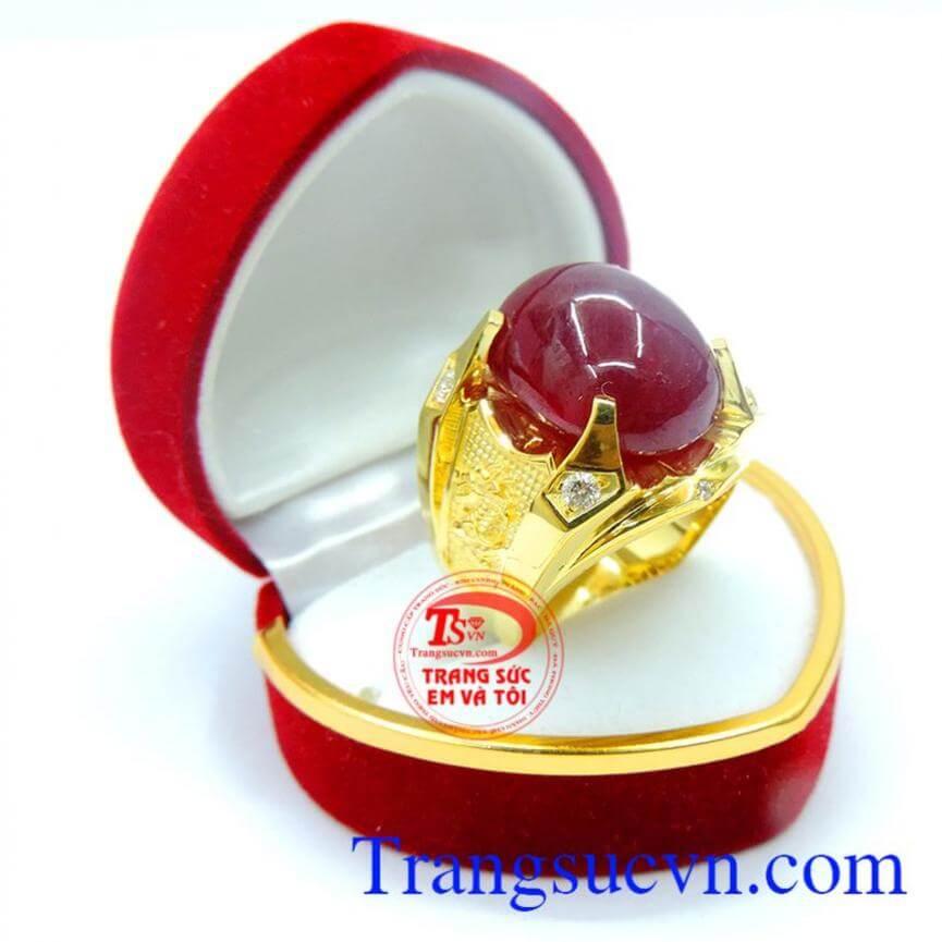 Nhẫn nam đá quý ruby sang trọng