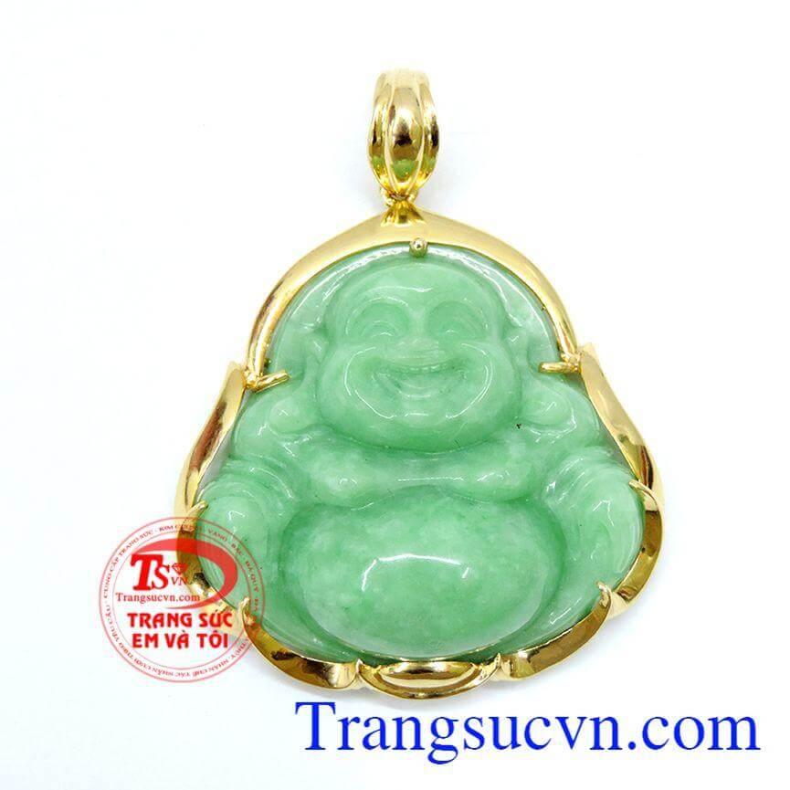 Mặt phật di lặc jadeite bọc vàng