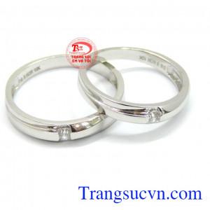 Nhẫn cưới vàng trắng korea 10k