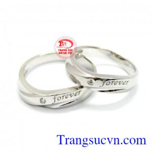 Nhẫn cưới vàng trắng uyên ương 10k
